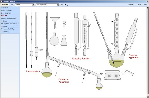 Screenshot ACDLabs ChemSketch Vorlagen