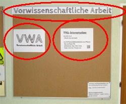 Beispiel für eine VWA Pinwand